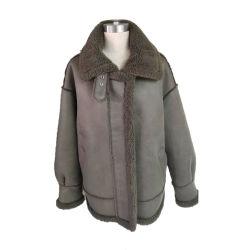 Usine Wholesale haut de gamme laine mélangée pardessus revers veste hiver épais Pelage chaud en peau de mouton en forme de Sheepskin avec différents Deisgn