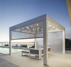 Waterbestendig Aluminium zonnescherm Gemotoriseerd Pergola Gazebo met Roller Blind Sluiter/Zip-systeem/LED-lampje