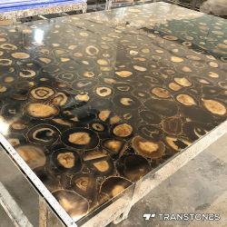 Comitato di parete Polished traslucido naturale dell'acquazzone dell'agata della pietra di gemma del Brown