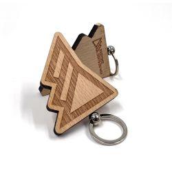 El precio barato al por mayor de madera hechos a mano Llavero con logo personalizado