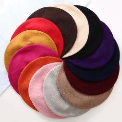 最上質の卸し売りBeret Pure Color Warm秋または冬の方法女性ニットの帽子のウサギの毛皮ペインターの帽子