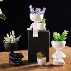 الفن نحت الصورة الشخصية Vase Micro Landscape Decor Creative lesents Plant وعاء تخزين حديقة زهرة بوت الشخصية المجردة بوت