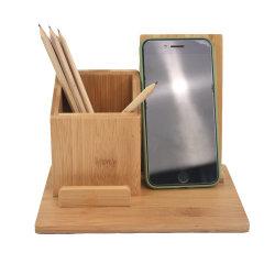 Telefone celular e porta-canetas Escritório Organizador de Suprimentos Desktop armazenamento de madeira