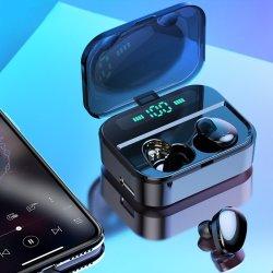 Orelha dupla Wireless fones de ouvido Bluetooth 6D HiFi estéreo Earbus Wireless IP7 Jogos Sem Fios (Fone de ouvido com microfone 2200mAh)