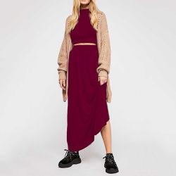 La mode à manches longues col rond en deux pièces exposées nombril Costume Sexy robe occasionnel