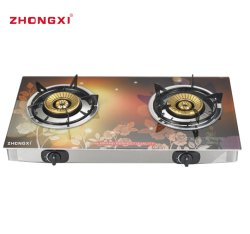 커버 유리 2 가열기 호리호리한 가스 스토브 Jz-RS252를 가진 탁상용 유리 2 반지 무쇠