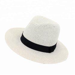 주문 로고에 의하여 줄무늬로 하는 모직 펠트 밀짚 숙녀 여름 중절모 플로피 모자