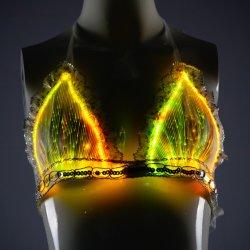 Luz de LED luminoso Bra lingerie sexy lingerie de fibra óptica
