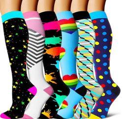 Seis colores calcetines de compresión de las mujeres y hombres perfectos medias de compresión a la enfermera la ejecución de la maternidad embarazo Deporte Médico de Viajes Vuelos