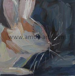 Handgemachte ausgedehnte Kaninchen-Segeltuch-Wand-Kunst für Hauptdekor