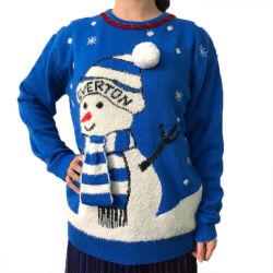 2020人の青いスノーマンパターンウールの球のクリスマスの女性セーター