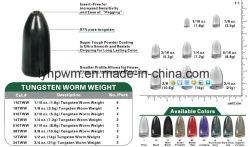 Viñeta de la pesca del gusano de tungsteno de peso el peso de 3/8 oz (Tungsten voltear el peso, el punzón de tungsteno de peso)