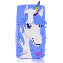 Geval van de Telefoon van het Silicone van het Paard van de Oren van de Hoorn van het hart het Krullende Mobiele voor de Melkweg van Samsung S3 S4 S5 S6 S7 (xsdw-011)