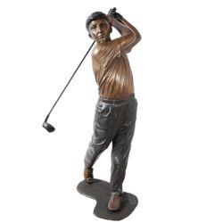 Décoration de jardin en plein air bronze statue enfants Garçon jouant au golf
