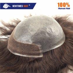 На складе непосредственной доставки 100% индийского человеческого волоса сверхтонкий кожу мужчин замена систем Toupee волос для мужчин