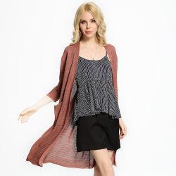 Neue Damen verdünnen Wolljacke für Sommer-langen Strickwaren-Großverkauf