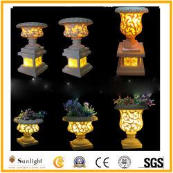 Стороны резного Сад скульптуры Flowerpot Polyresin песчаника