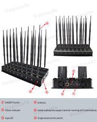 Haute puissance réglable de 18 antennes 3G 4G Tous les signaux de téléphone mobile WiFi GPS brouilleur Signal RF UHF VHF Lojack brouilleur bloqueur, CDMA GSM 2g 4gwimax GPS