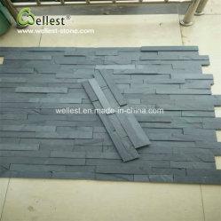 Schwarzer Schiefer mit natürlichem Riss für Wand-Umhüllung, SteinVenner, gestapelter Stein, Kultur-Stein