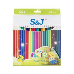Venta caliente Logotipo personalizado 7pulgadas 24pcs Lápiz de Color de plástico para niños