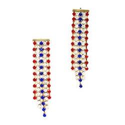 [أمريكن فلغ] حلق, أحمر, أبيض واللون الأزرق, بسيطة معدنيّة [أوسا] حلق عطلة [نأيشنل دي] [إرّينغس&160]; شوكة كبّل حجارة سلسلة [تسّل] حلق