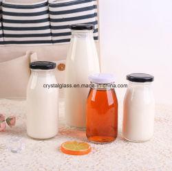 200/250/500ml botella de leche Dinking vidrio Contenedor con hojalata