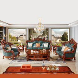 Madera tallada Royal sofá de cuero de Foshan Sofá fábrica de muebles