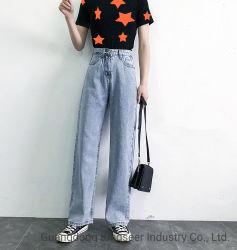 La fábrica de ropa de moda personalizada de señoras mayoristas Jean Wide-Legged Casual pantalones vaqueros de stock de las mujeres ropa usada