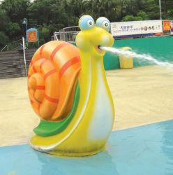 薄黄色のかわいいかたつむりの子どもだましのおかしいスプレー水公園は演劇をからかう