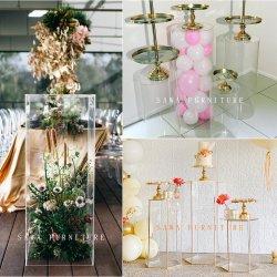 Round superior em vidro ouro em aço inoxidável Ninho de Pássaro de casamento de base a tabela de eventos para venda
