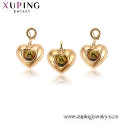La imitación oro de 18K hueco de color en forma de corazón a Jesús religiosas joyas para niñas