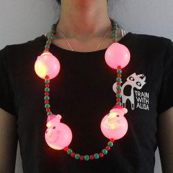 Noël Bonhomme de neige LED clignotante Necklace