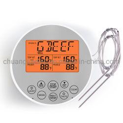 Churrasqueira digital de leitura instantâneo termómetro com sonda dupla e temporizador