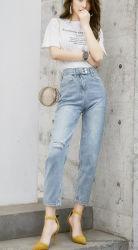 Nouveau mode de la mi-taille haute femmes décontractées/Mesdames Ankle-Length Pantalon jeans
