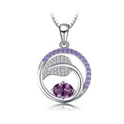 925 Sterling Silver Leaf Pendentif créé Alexandrite SAPHIR VIOLET Pendentif Zirconia Cubique bijoux de la poignée de commande
