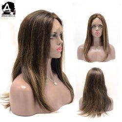 Angelbella Virgem sintético de cabelo humano Perucas realce 1b 27## Lace Peruca Dianteiro