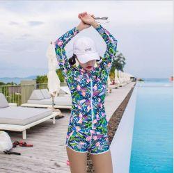 Mulheres Manga Longa Cor simples Surf Jacket Zip de Lycra rash guard Tops ordens OEM são bem-vindas