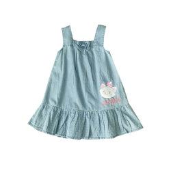 Kinder, die Mädchen-Denim-Sommer-Kleid kleiden