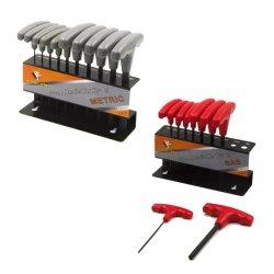 SAE/Metric 10PCSのT-Handleの(Torx) HEXキーのレンチは手のツールのためにセットした