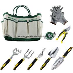 Der 9 Stück-Garten-Hilfsmittel-Sets umfassen ein Pflanzenseil und ein Paar Arbeits-Handschuhe, 6 schwere Gussaluminium-Köpfe mit ergonomischen Griffen und einen GartenTote Esg10154