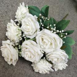 빨간 백색 신부 꽃다발 9 헤드 꽃 인공적인 로즈 Wedding 꽃