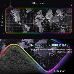고무 Mousepad 승진 선물 마우스 매트 도박 세계 지도 책상 매트 LED RGB 마우스 패드 컴퓨터 악세사리를 인쇄하는 큰 주문 로고