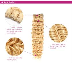 Brasil rubia Extensiones de Cabello 4pcs Longitud de la mezcla de miel Rubio rizado rizado Cabello Humano 613 paquetes de tratar el cabello rizado suaves tejidos