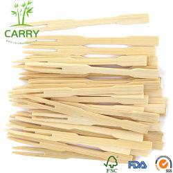 Biodegradierbare Frucht-/Imbiss-Wegwerfnahrung wählt hölzerne/Bambusgabel aus (9cm)