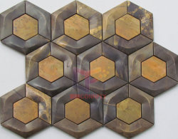 Faites de cuivre de forme hexagonale pour décoration murale de la mosaïque (CFM1025)