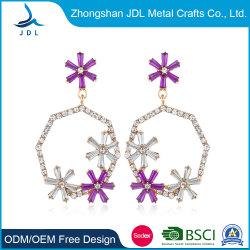 Aqua brincos de diamantes europeu e americano ronda discotecas pendão estilo longos brincos de forma exagerada simples Agulha de prata brincos de flor (28)