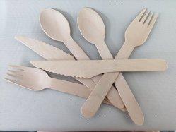 生物分解性の使い捨て可能な木の食事用器具類のナイフのフォークのスプーン