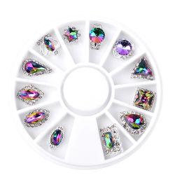 Juwelen van de Spijker van het Glas van de Diamant van de Stenen Multicolored Vreemde Ab van de Vlam van de Juwelen van de Draaischijf van de manicure Kleurrijke