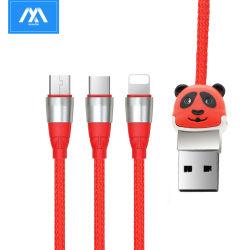 Venda quente 1m Panda Series 3 em 1 USB data do carregamento do cabo de sincronização para iPhone Micro USB Tipo C