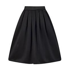 تنورة غير رسمية ذات ثنيات ذات لون متين للنساء